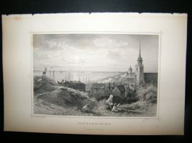 Holland Netherlands C1850s Antique Print. Scheveningen